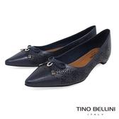 Tino Bellini 巴西進口雷射雕花佐優雅蝴蝶結低跟包鞋 _ 深藍 TF8512 歐洲進口款