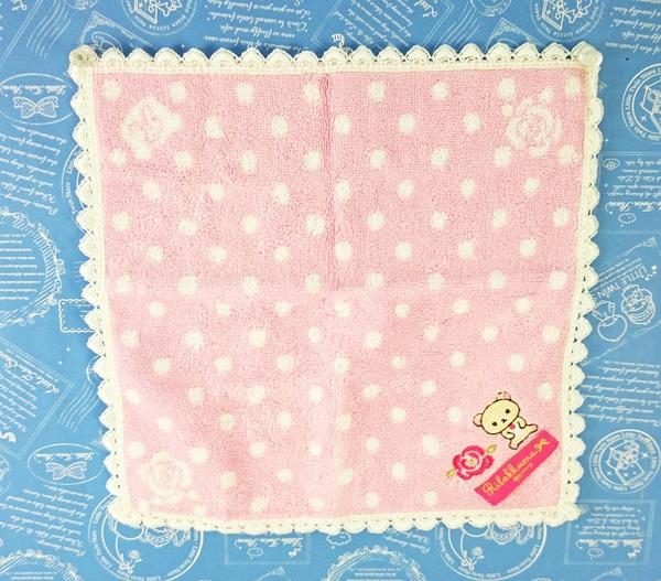 【震撼精品百貨】Rilakkuma San-X 拉拉熊懶懶熊~San-X 手帕/方巾-白粉#63779