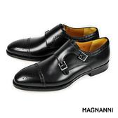 【MAGNANNI】橫飾雙釦孟克紳士皮鞋 黑色(15197-BL)