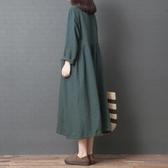 中大碼洋裝 文藝范女裝大碼遮肚連衣裙春季減齡洋氣韓版寬松時尚亞麻收腰襯衫洋裝