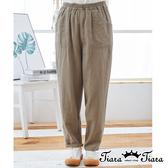【Tiara Tiara】百貨同步ss 簡約鬆緊帶棉麻長褲(綠/卡其)