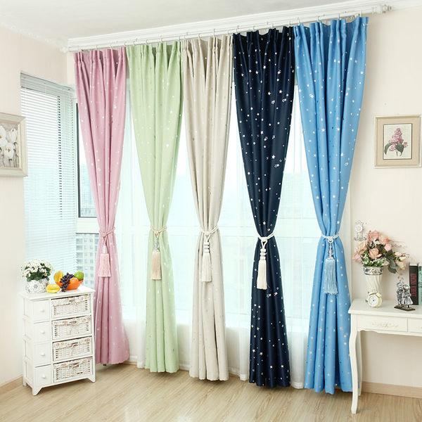 田園成品窗簾臥室遮光窗簾遮光布料客廳加厚遮陽布短簾窗簾  好康免運