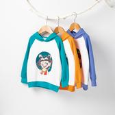 女童2020新款秋冬裝純色連帽套頭哪吒漫圖案衛衣長袖中小童裝上衣