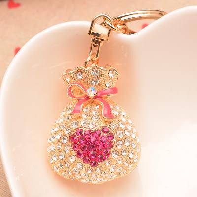 韓國 小荷包 水鑽鑰匙 掛飾 捷克水鑽 施華洛世奇 水鑽 捷克鑽 包包掛飾 聖誕禮物 1067