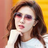 新款墨鏡女韓版潮復古原宿風圓臉多邊形太陽眼鏡無框 QQ5717『樂愛居家館』