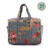 便當袋 包包 防水包 雨朵小舖雨朵防水包 M401-006 韓國小保溫袋-藍大玫瑰與小紫花(韓)06243 funbaobao