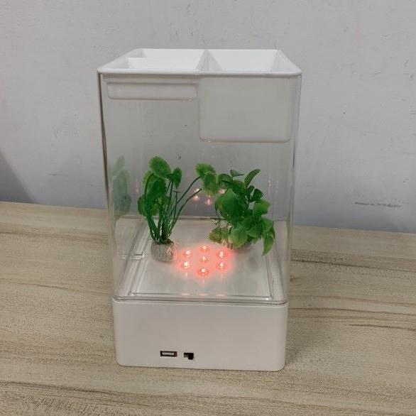 水培植物養魚缸一體家用塑料創意懶人小型免換水桌面魚缸(26*14*14/777-9420)