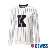 K-SWISS Stripe Sweat Shirts圓領長袖上衣-男-白