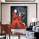 新中式玄關裝飾畫餐廳過道客廳掛畫酒店會所大幅個性人物書房壁畫 QM 依凡卡時尚