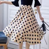 甜美奶茶色波點大裙擺後腰鬆緊法式及膝裙[98887-QF-裙]美之札