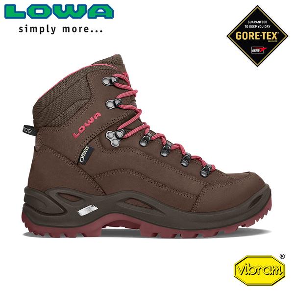 【LOWA 德國 女 Renegade GTX Mid 中筒多功能健行鞋《咖啡/桃紅》】LW320945/登山鞋/中筒靴/徒步鞋