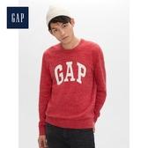 Gap男裝基本款徽標LOGO圓領針織衫516644-紅色