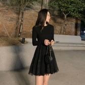 特賣閃閃連身裙秋冬內搭打底裙2020閃閃網紗拼接連身裙女中長款小個子仙女裙