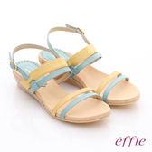 effie 個性涼夏 真皮雙條帶小坡跟涼鞋  藍