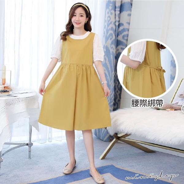 孕婦裝 MIMI別走【P521434】清新可人 棉麻拼接假兩件連身裙 孕婦裙 孕婦洋裝
