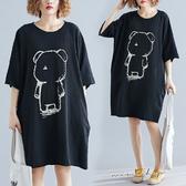 孕婦裝 MIMI別走【P521029】舒適整個孕期 竹節棉寬版熊熊連身裙 孕婦裙 有口袋喔