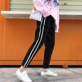 秋季新款韓版條紋毛呢褲子女哈倫褲學生九分褲休閒蘿卜褲運動褲潮