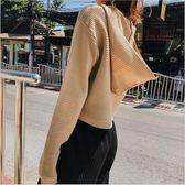 2018 春季 新品 韓版 女裝 寬鬆 針織 毛衣 連帽 針織衫
