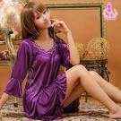睡衣 性感睡衣 浪漫多情深紫七分袖柔緞情趣性感睡衣 星光密碼 K099