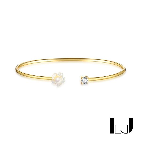 Little Joys 母貝珍珠花瓣鋯石手環 925銀鍍金 旅美原創設計品牌