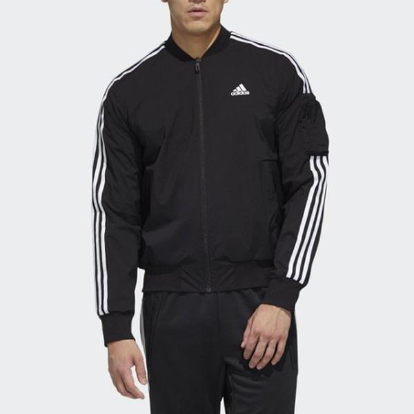 adidas MH JACKET BOMB 3S 飛行外套 黑色 風衣材質 拉鍊口袋 休閒 男款 GH4802