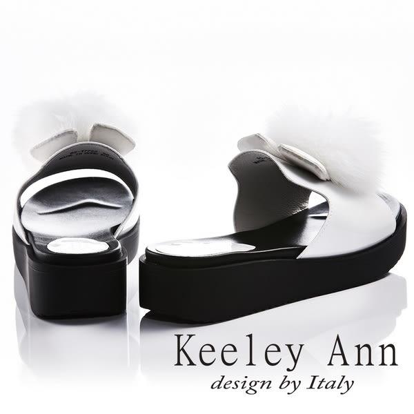 ★2018春夏★Keeley Ann俏皮甜美~毛絨兔耳造型厚底拖鞋(白色) -Ann系列