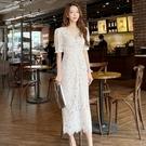 兩件套OL洋裝S-XL0167#新款兩件套夏裝超仙修身V領蕾絲鏤空水鉆重工長裙連身裙NE49紅粉佳人