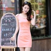 無袖洋裝氣質包臀連身裙修身顯瘦2020夏季新款簡約彈力無袖背心性感女短裙 JUST M