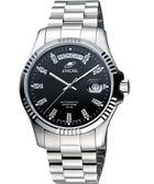ENICAR 恆動之星經典機械腕錶-黑/銀 3169-50-330aB