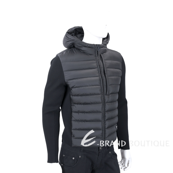 PRADA 三角牌羊毛針織袖黑色連帽羽絨外套(男款) 1830442-01