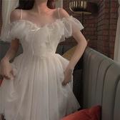 中華隊獲勝吊帶裙 復古小眾裙子女夏氣質溫柔高腰中長款吊帶連身裙仙女裙夏
