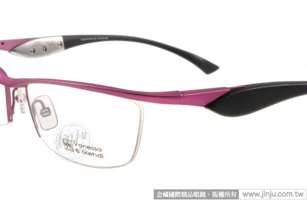 【金橘眼鏡】Vanessa Mehdi眼鏡 強悍視覺#VM0802 C0011 紫-黑色 半框-全球專利可調式鏡臂 (免運)