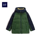 Gap男童 高領長袖拉鏈連帽棉服外套 473913-綠色