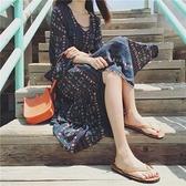 沙灘裙 波西米亞長裙 泰國海邊度假 民族風中長款海灘連身裙