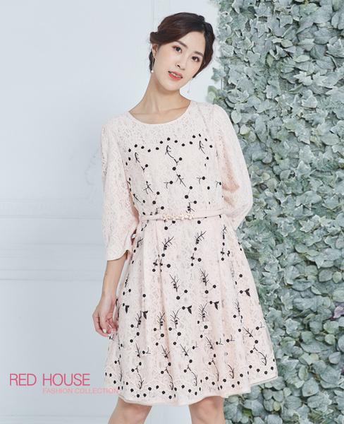 Red House 蕾赫斯-優雅蕾絲繡花洋裝(粉色)(無附腰帶)