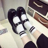 娃娃鞋 松糕鞋女日系制服鞋原宿圓頭厚底小皮鞋