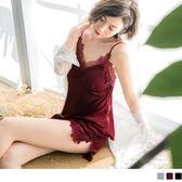 《VB0251》附襯~緞面蕾絲花邊兩件式睡衣 OB嚴選