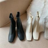 尖頭靴 白色短靴女高跟粗跟方頭韓版2020新款秋冬彈力靴網紅顯瘦瘦靴裸靴 阿卡娜