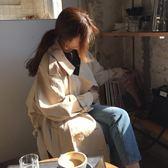 梨卡 - 2018韓國秋冬新款中長版米色雙排扣立領繫帶綁帶寬鬆風衣過膝風衣外套BR103