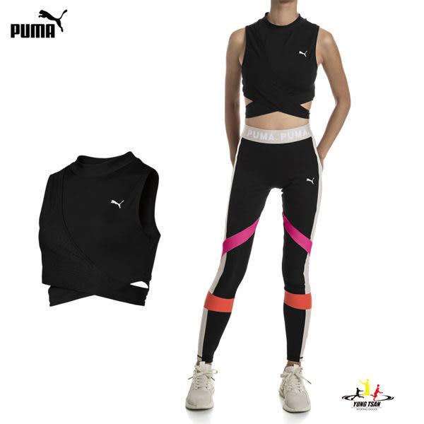 Puma 女 全黑 運動背心 瑜珈背心 腰部簍空 繃帶設計 舒適 輕質 吸汗 乾爽 透氣 背心 57835001