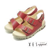 XES 兩段式涼鞋 有型好穿 三處魔鬼氈 真皮耐穿 厚底涼鞋_紅色
