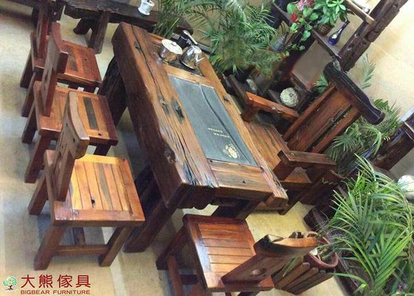【大熊傢俱】老船木 茶几 茶桌 泡茶桌 實木桌 茶台 原木桌 靠背椅 主人椅 船木家具 休閒組椅