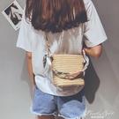 上新小包包女新季ins簡約單肩斜背編織包藤編沙灘草編包 果果輕時尚