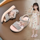女童涼鞋2021年夏季新款小女孩童鞋水鉆蝴蝶結軟底時尚小公主鞋子 科炫數位