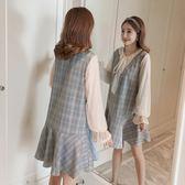年終盛典 秋裝女2018新款裙子韓版溫柔風裙超仙女顯瘦假兩件長袖格子連衣裙