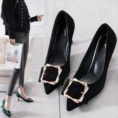 韓版百搭小清新高跟鞋少女貓跟鞋細跟性感女神黑色方扣高跟鞋女潮