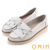 ORIN 經典復古 流蘇蝴蝶結牛皮休閒平底鞋-白色