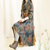 洋裝(免運)連身裙 複古文藝春秋季毛呢連衣裙  長袖寬鬆中長款中國風印花呢料裙子森系