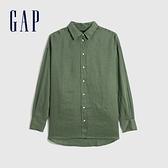 Gap女裝 亞麻通勤休閒長袖襯衫 660952-綠色