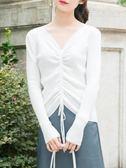 絲爍2019秋冬新款V領抽繩短款長袖毛衣打底針織衫女修身顯瘦上衣
